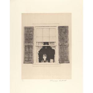 Children Looking Out Window Signed Print