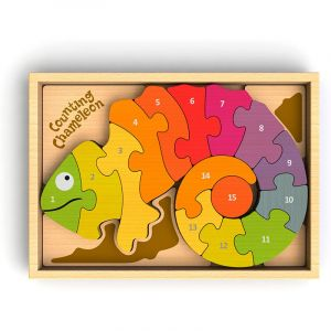 Counting Chameleon Wooden Puzzle