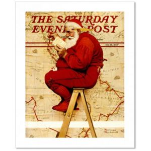 Santa at the Map (Extra Good Boys and Girls) Custom Giclee Print
