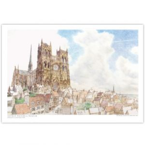 David Macaulay: View of Cathedral (Color) Signed Print