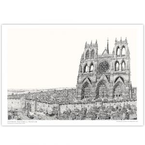 David Macaulay: View of Cathedral (Black & White) Signed Print